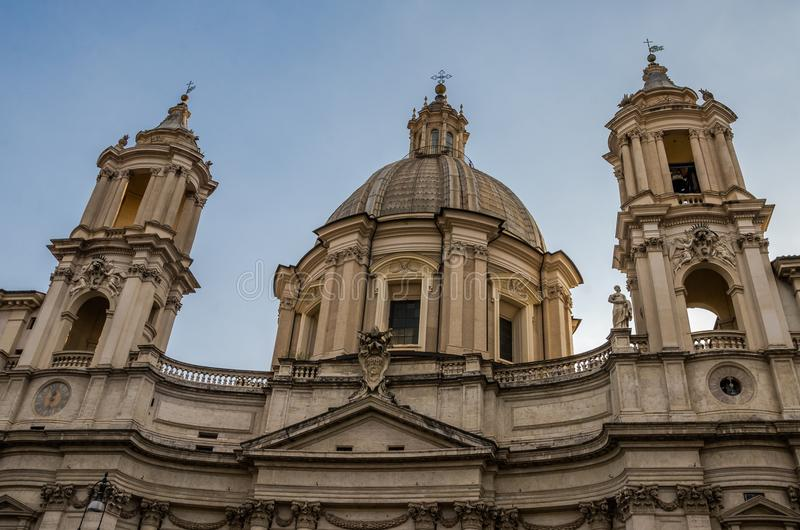 Domes of the Church of Sant`Agnese in Agone on Piazza Navona in Rome stock images