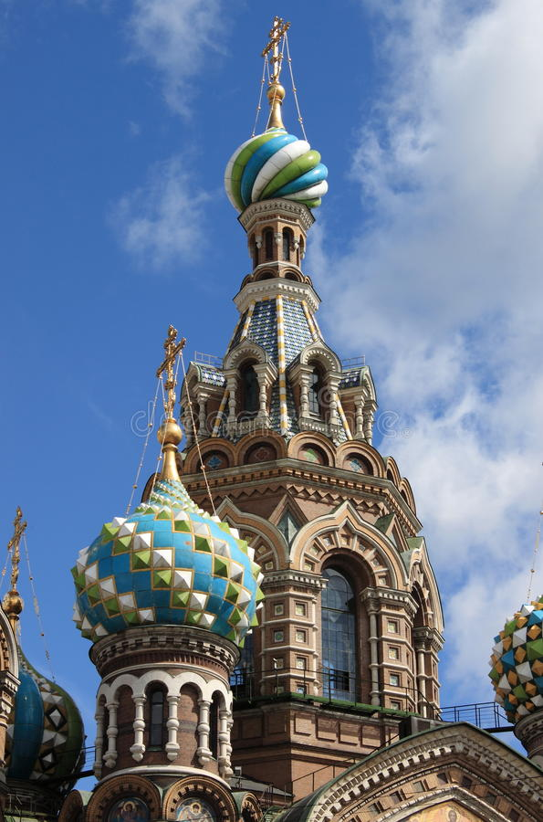 Domes of the Church of the Saviour on Spilled Blood stock photography