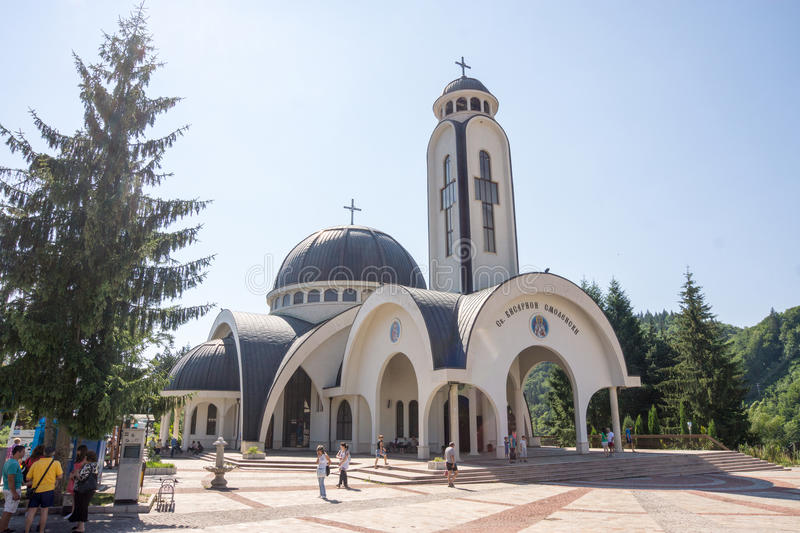 Domes of the church of St. Vissarion of Smolyan in Smolyan royalty free stock images