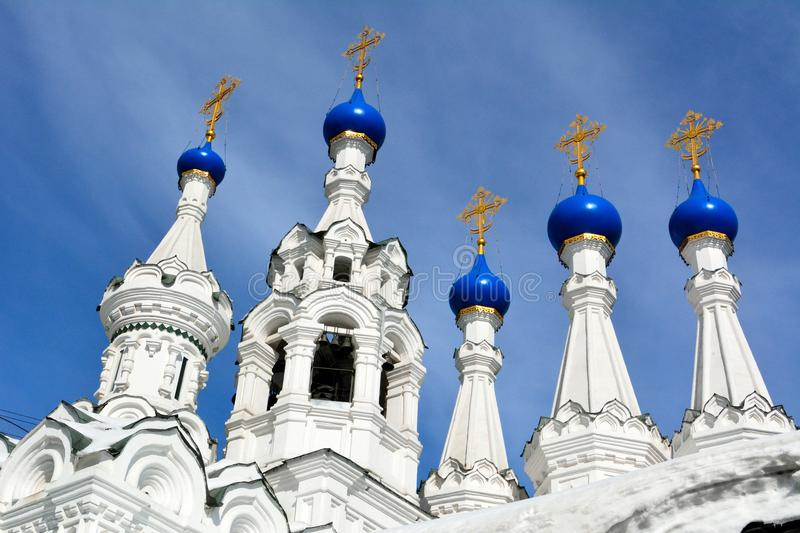 Domes and crosses of the Church of the Nativity of the Virgin in royalty free stock photography