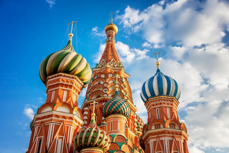 Domes of the famous Head of St. Basil`s Cathedral on Red square, royalty free stock image