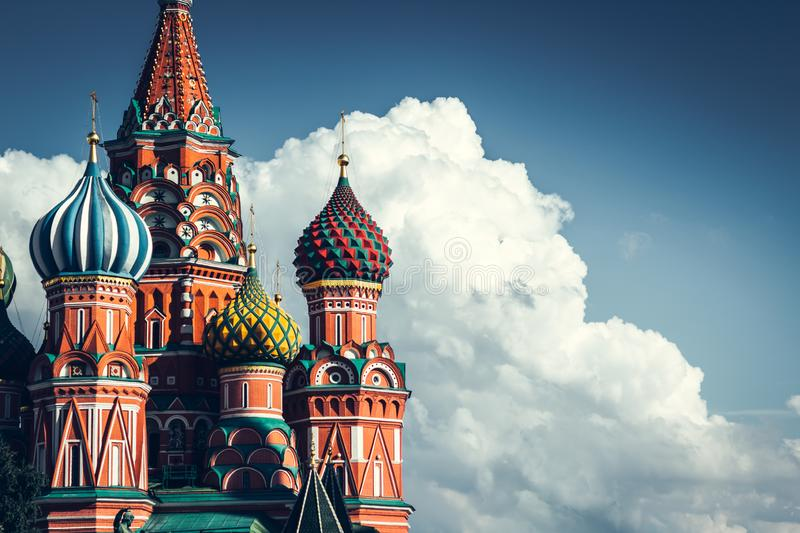 Domes of the famous Head of St. Basil`s Cathedral on Red square, Moscow stock image