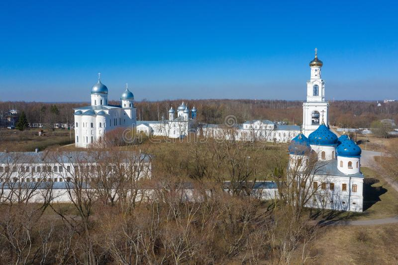 Domes of famous St. George monastery in Novgorod region, Russia. One of the oldest orthodox christian churches.  stock photos