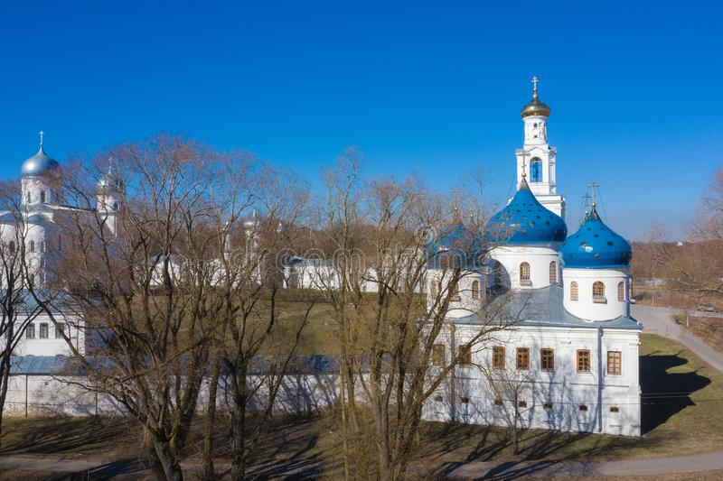 Domes of famous St. George monastery in Novgorod region, Russia. One of the oldest orthodox christian churches.  royalty free stock image