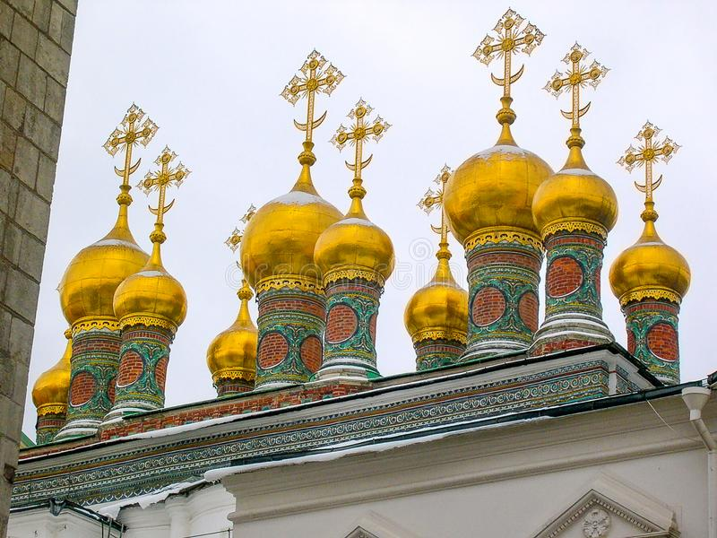 Domes of the Kremlins Churches and Cathedrals,Moscow,Russia.  stock photography