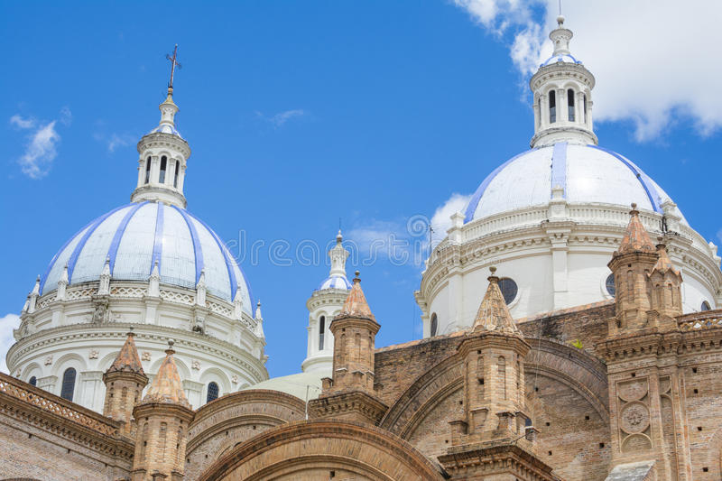 Domes of the New cathedral of Cuenca, Ecuador royalty free stock images