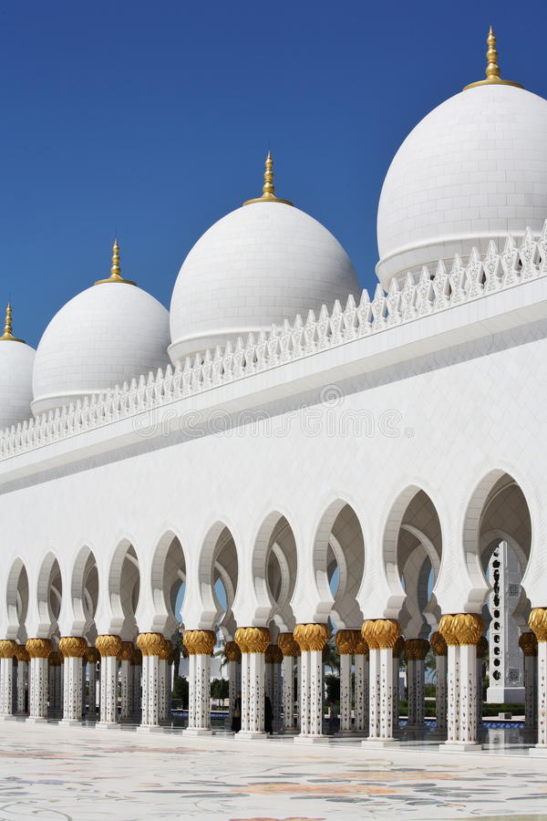 Domes and pillars Sheikh Zayed Mosque in Abu Dhabi stock photos