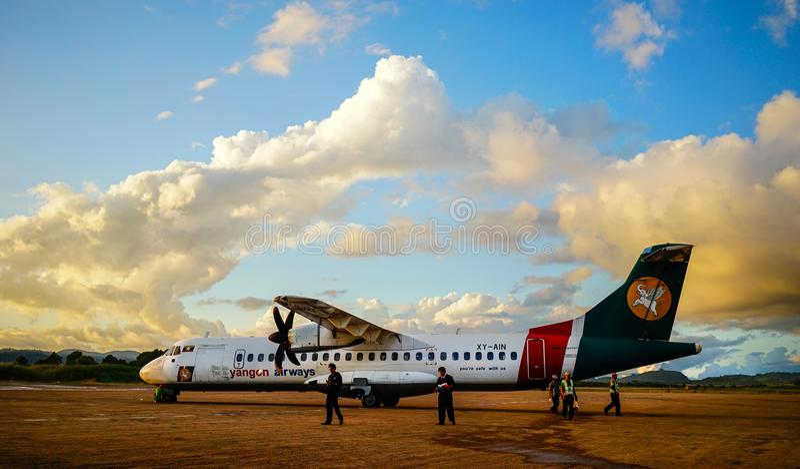 Domestic aircraft docking at Yangon Airport stock photos