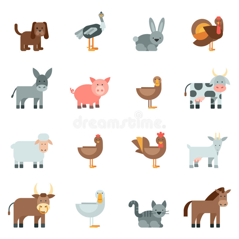 Domestic Animal Flat Icons Set. With dog rabbit donkey isolated vector illustration royalty free illustration
