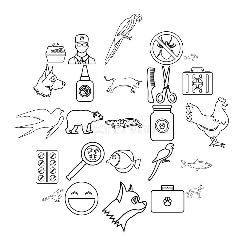 Domestic animal icons set, outline style. Domestic animal icons set. Outline set of 25 domestic animal vector icons for web isolated on white background royalty free illustration