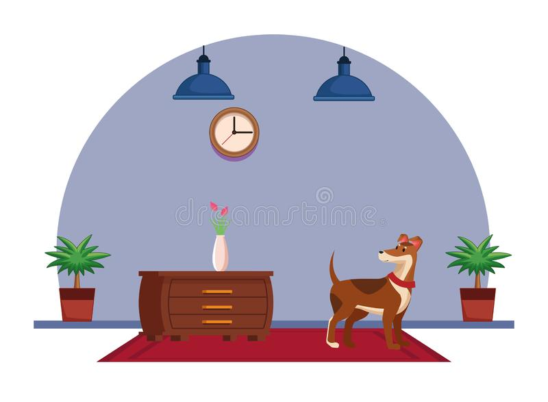 Domestic animals and pet icon. Domestic animals and pet with dog over a carpet and next to a chest of drawer with flower vase chest of drawers, hanging lamp stock illustration