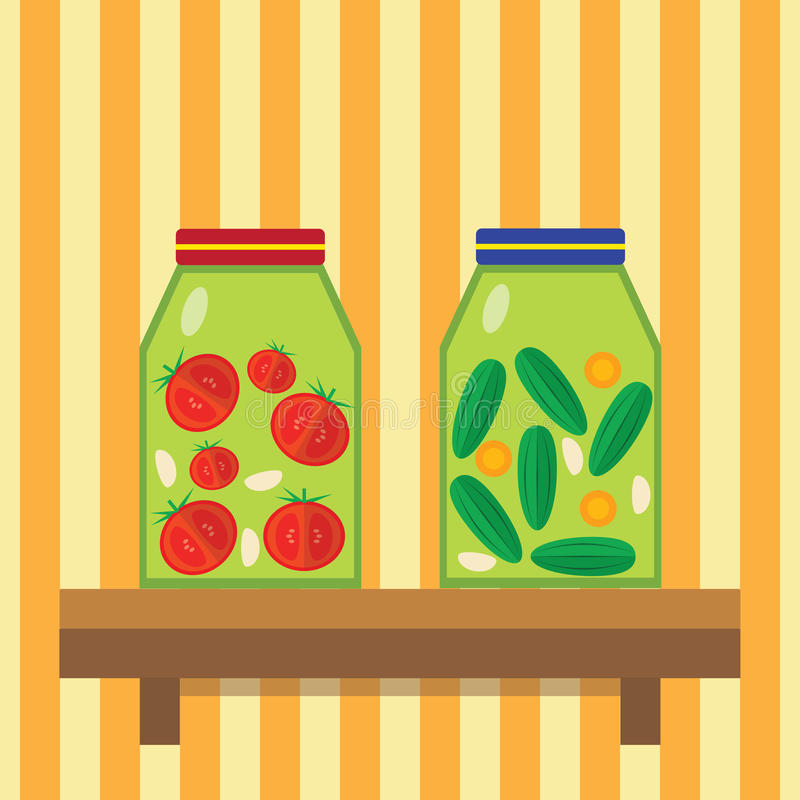 Domestic billet. Cucumbers and tomatoes in cans. Pickled cucumbers and tomatoes. Vector stock illustration