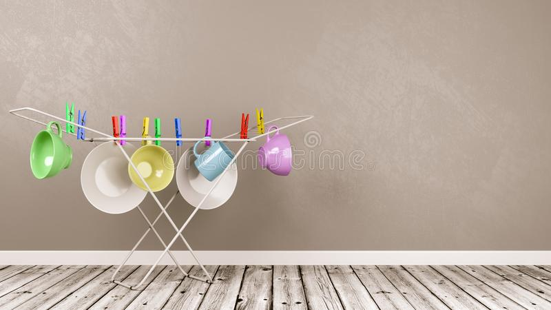 Domestic Chores. Crockery Hanging on White Clothes Drying Rack in a Gray Wall Room with Copy Space 3D Illustration, Domestic Chores Concept stock illustration