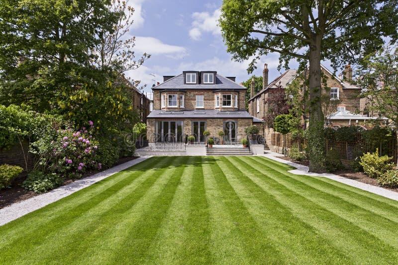 Domestic garden. Perfect trimmed lawn domestic garden stock photos