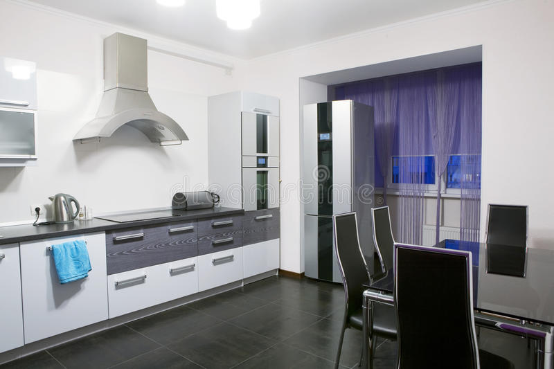Domestic Kitchen. Modern domestic kitchen with contemporary equipment stock photos