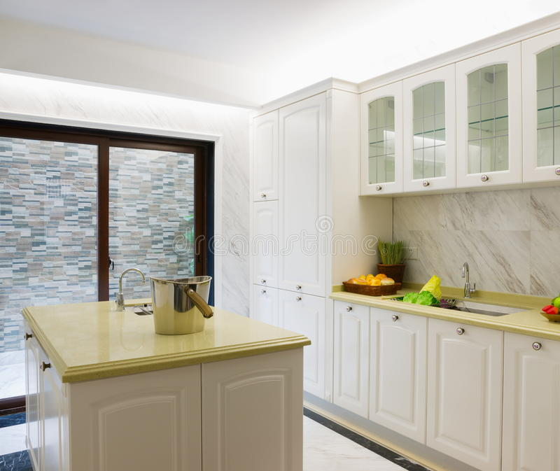 Domestic kitchen. With nice cabinet stock images