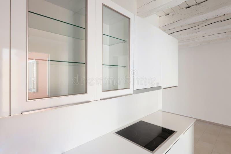 Domestic kitchen in old loft. Interior, new domestic kitchen in old loft royalty free stock photo
