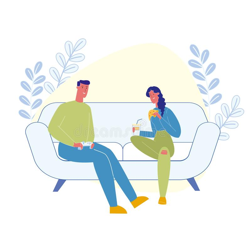 Domestic Leisure, Pastime Flat Vector Illustration. Happy Couple, Gamer with Girlfriend Cartoon Characters. Young Man Playing Video Game, Woman Eating vector illustration