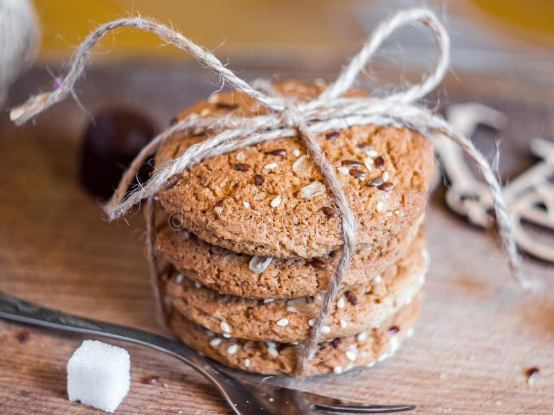 Homemade fresh oats cookies with sesame royalty free stock image