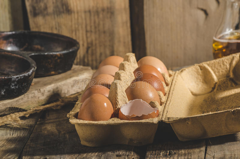 Domestic organic eggs. Product photo, place for your advertisment or text stock photography