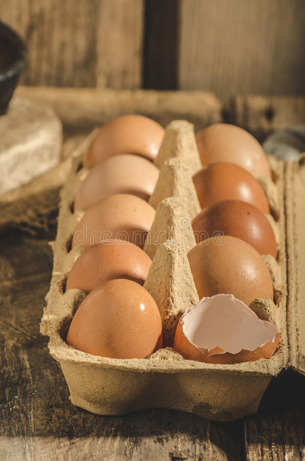 Domestic organic eggs. Product photo, place for your advertisment or text royalty free stock images
