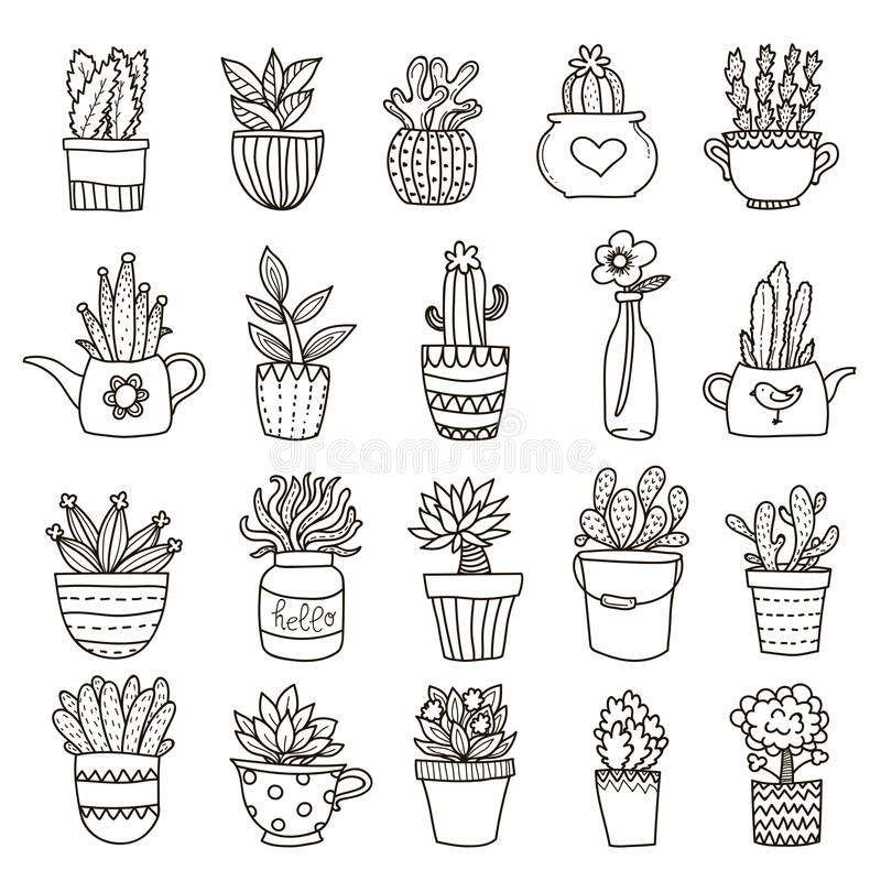 Domestic Plants Icon Set. Home and office plants in bough pots decorative icons set with black outlines on blank background vector illustration royalty free illustration