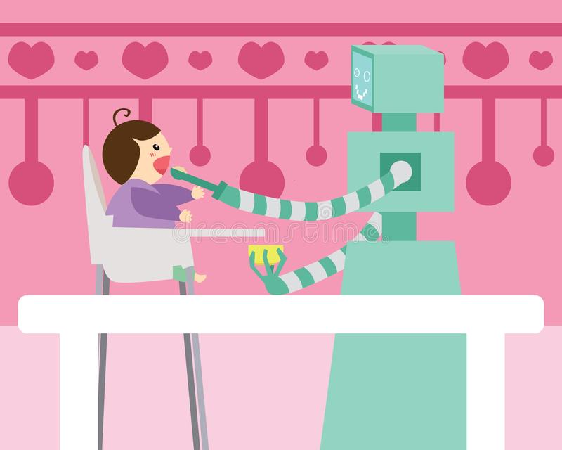 domestic robot spoon feeding small baby sitting on high chair in