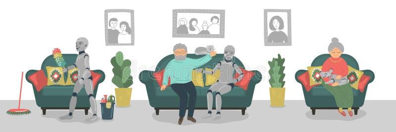 Domestic robots caring seniors. Domestic robots careing seniors. Futuristic concept stock illustration