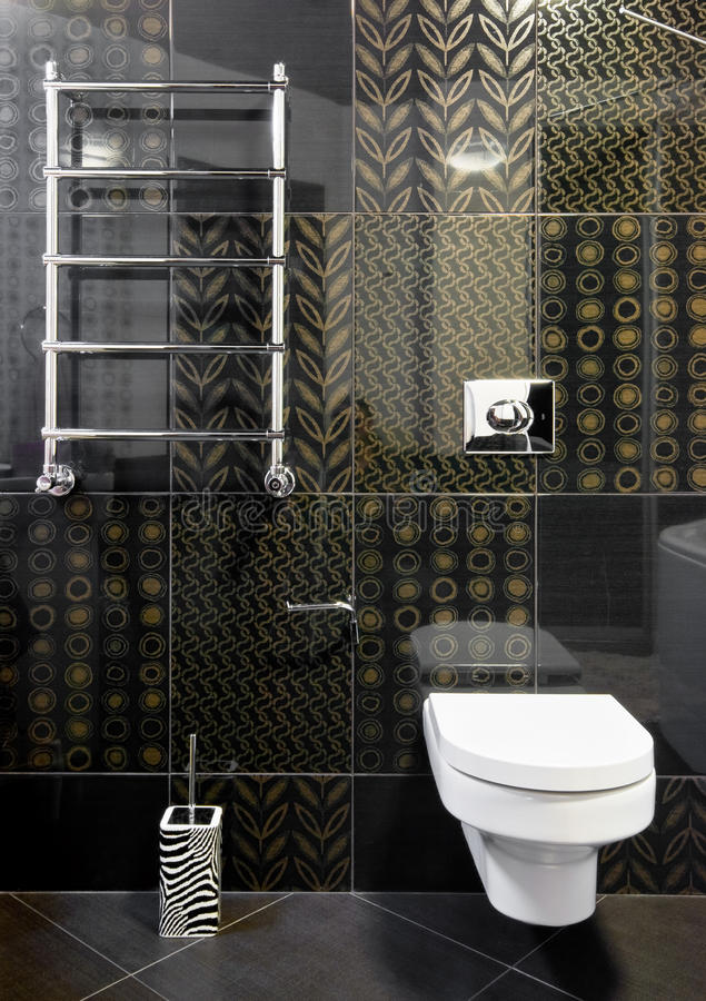 Domestic room in black colors. New domestic room in black and gold colors royalty free stock photos