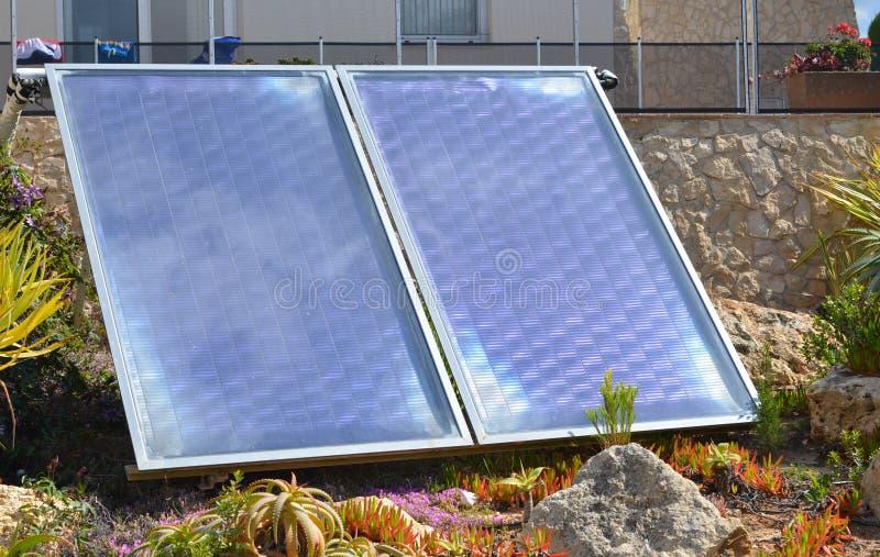 Domestic solar panels stock photos