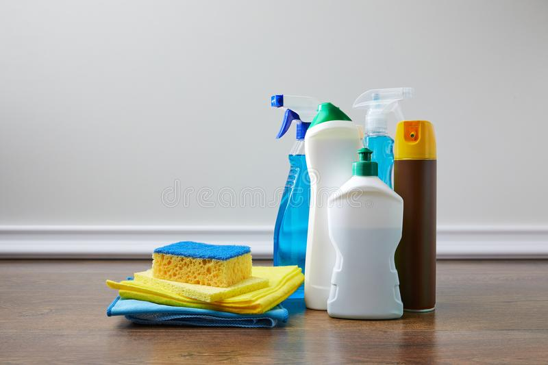 Domestic supplies for spring cleaning. On floor stock images