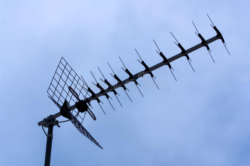 Domestic television antenna on a roof royalty free stock photography