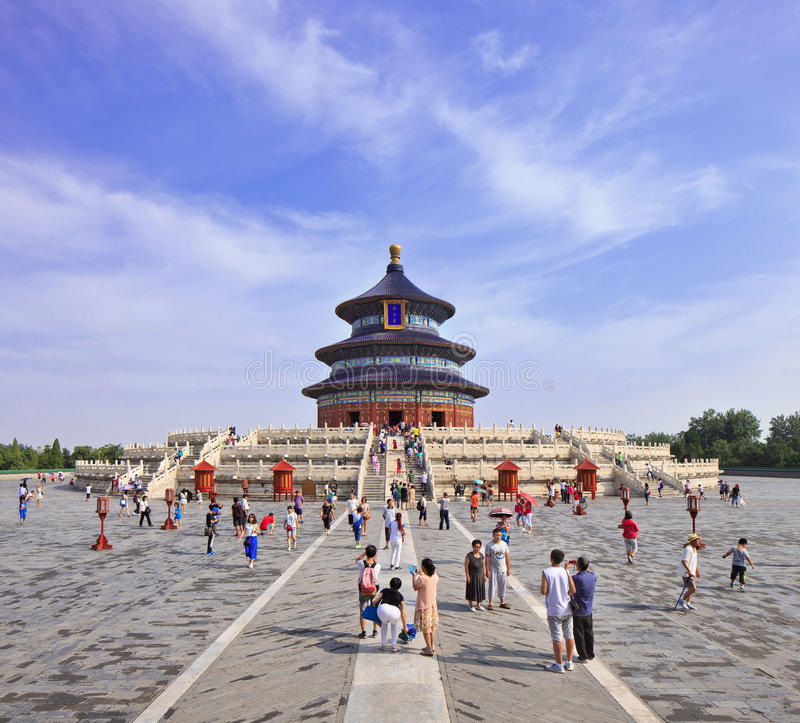 Domestic tourism at Temple of Heaven, Beijing, China. BEIJING-AUG. 6, 2015. Domestic tourism at Temple of heaven. The iconic medieval complex of religious royalty free stock images
