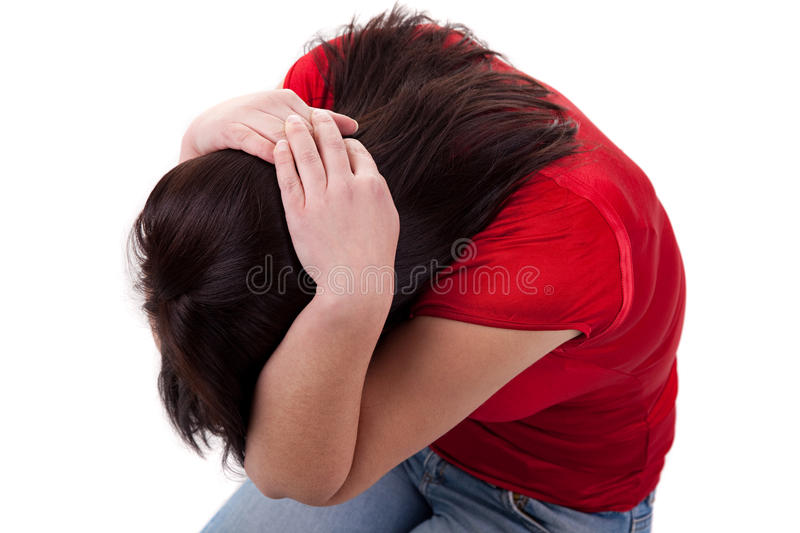 Domestic violence. Young women to protect themselves, with hands on head, isolated on white background stock photography