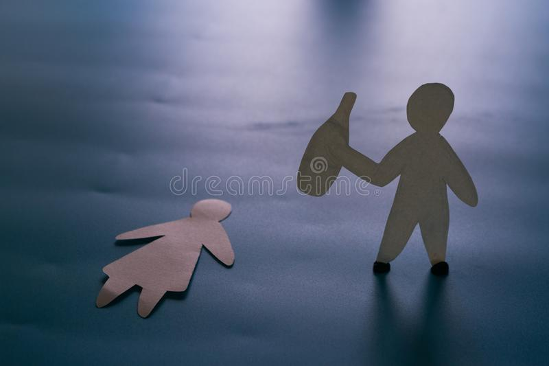 Domestic violence and abuse. And alcohol addiction concept royalty free stock photography