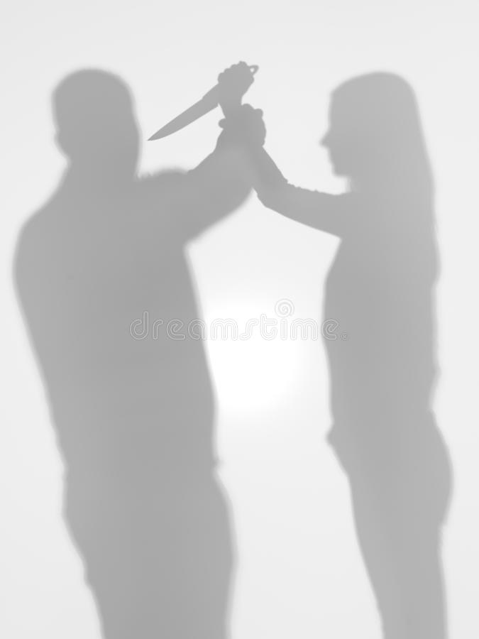 Domestic violence, body silhoettes royalty free stock photos