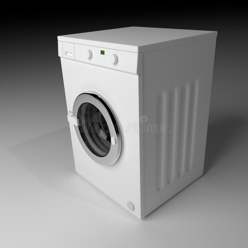 Domestic washing machine closed and ready to wash dirty clothes. Domestic washing machine with closed door ready to receive dirty clothes. 3d render, 3d vector illustration
