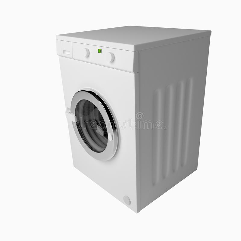 Domestic washing machine closed and ready to wash dirty clothes. Domestic washing machine with closed door ready to receive dirty clothes over white. 3d render vector illustration
