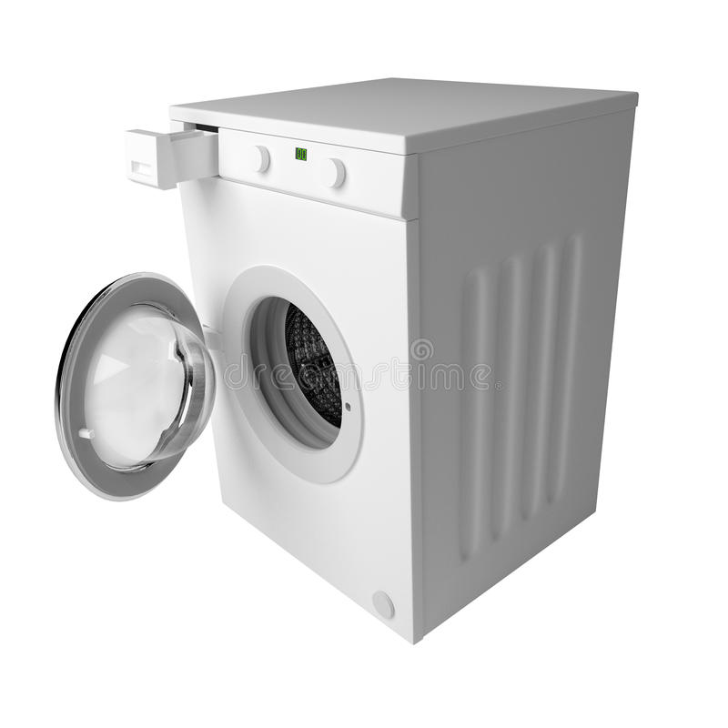 Domestic washing machine ready to wash dirty clothes isolated over white. Domestic washing machine with open door ready to receive dirty clothes isolated over royalty free illustration