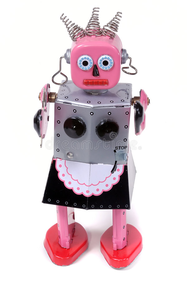 Domestica 4 - Giocattolo Del Robot Dell Annata Fotografia Stock Libera da Diritti