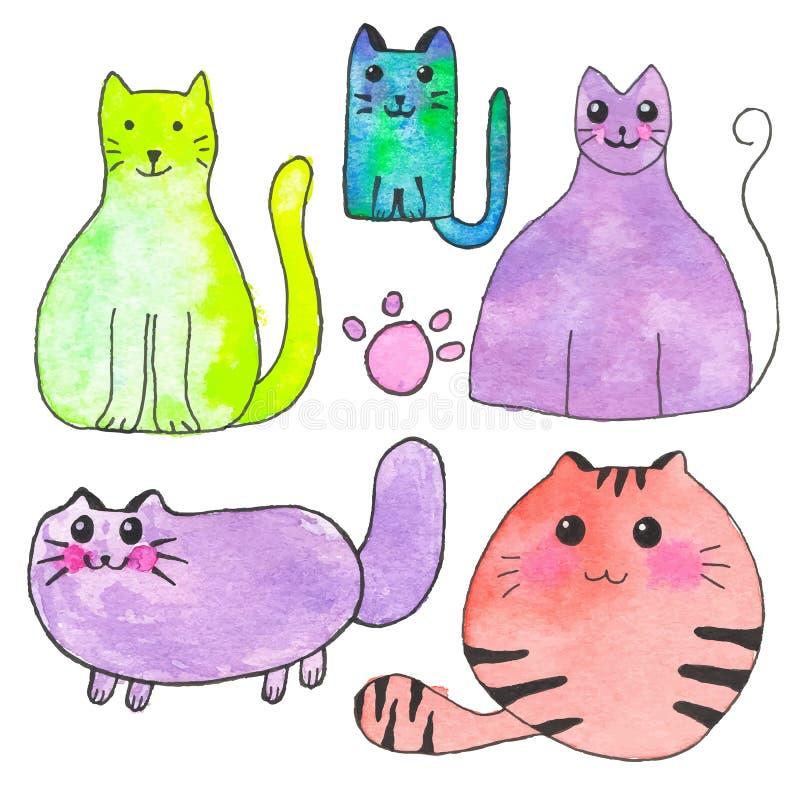 1 domestico Insieme disegnato a mano degli animali domestici del fumetto Disegno reale dell'acquerello Illustrazione di vettore illustrazione vettoriale
