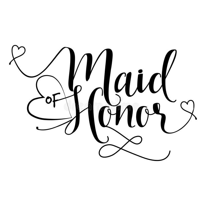 Domestique d'honneur - typographie de lettrage de main illustration de vecteur