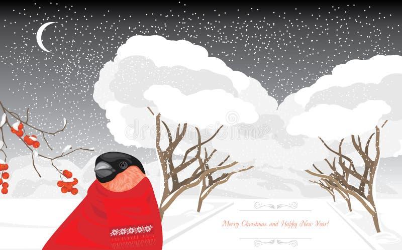 Domherren i vintern parkerar klaus santa för frost för påsekortjul sky stock illustrationer