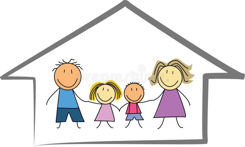 Domicilio familiar/casa felices - dibujo/bosquejo de los niños ilustración del vector