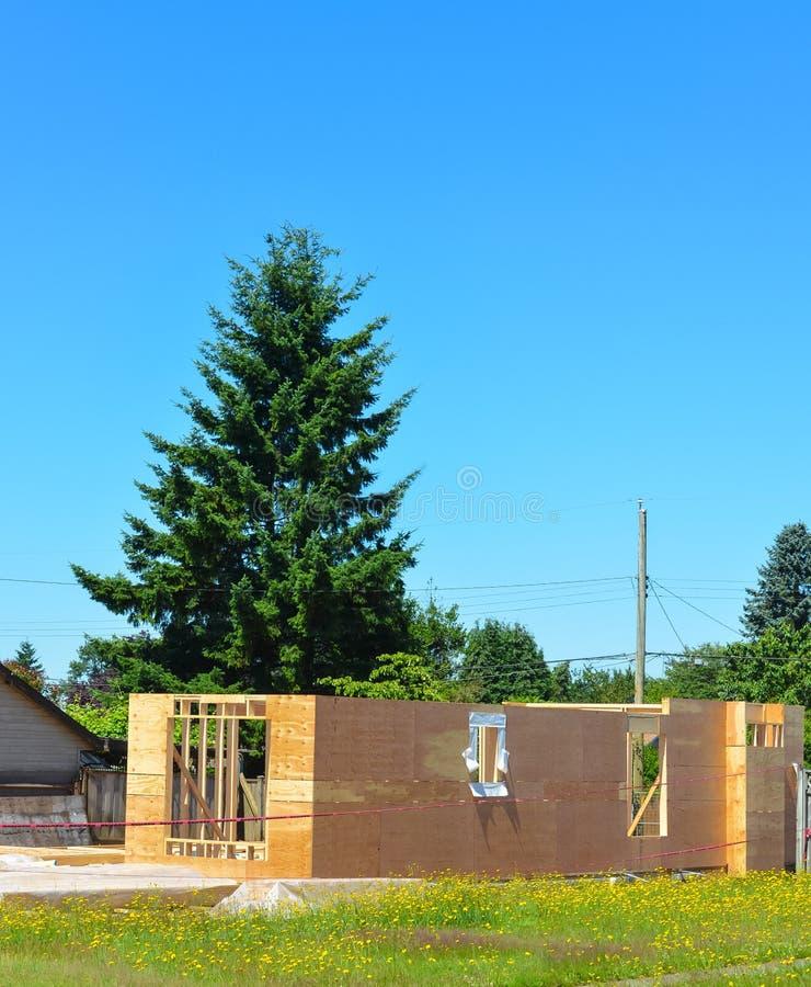 Domicilio familiar separado bajo construcción con el árbol de abeto en patio trasero fotografía de archivo libre de regalías