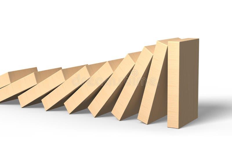 Dominós de madeira que caem com última posição da parte ilustração royalty free