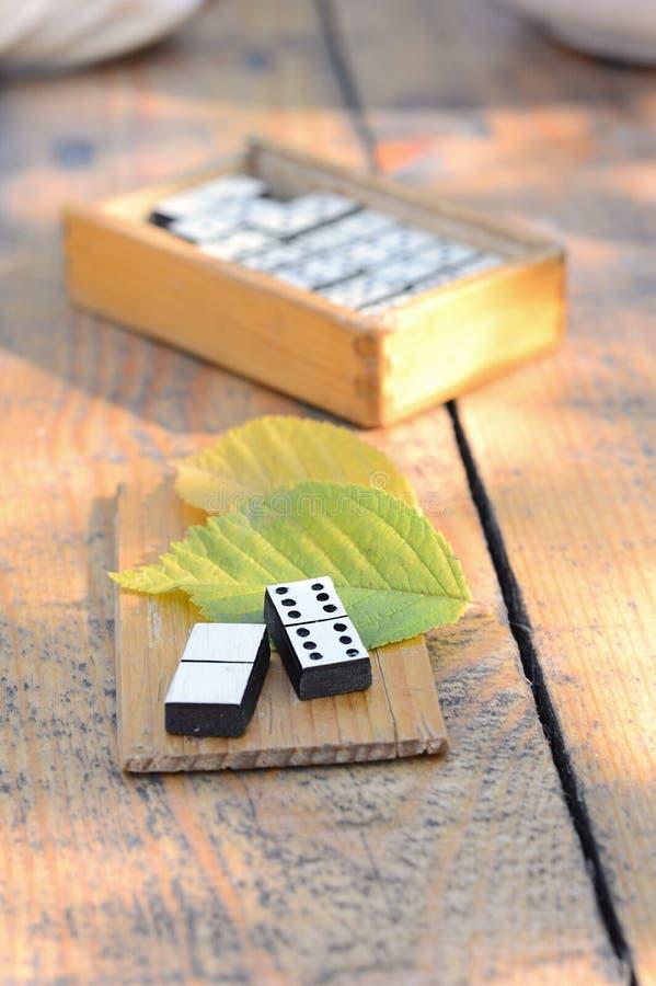 Dominós de madera fijados foto de archivo