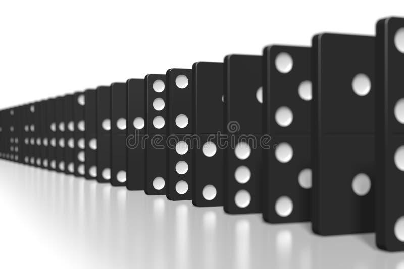 dominós do preto 3D - foco seletivo ilustração royalty free