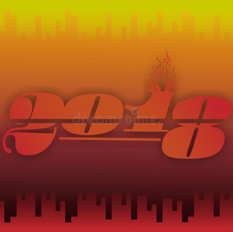 Dominação do vermelho do ano novo do fundo do fogo ilustração stock
