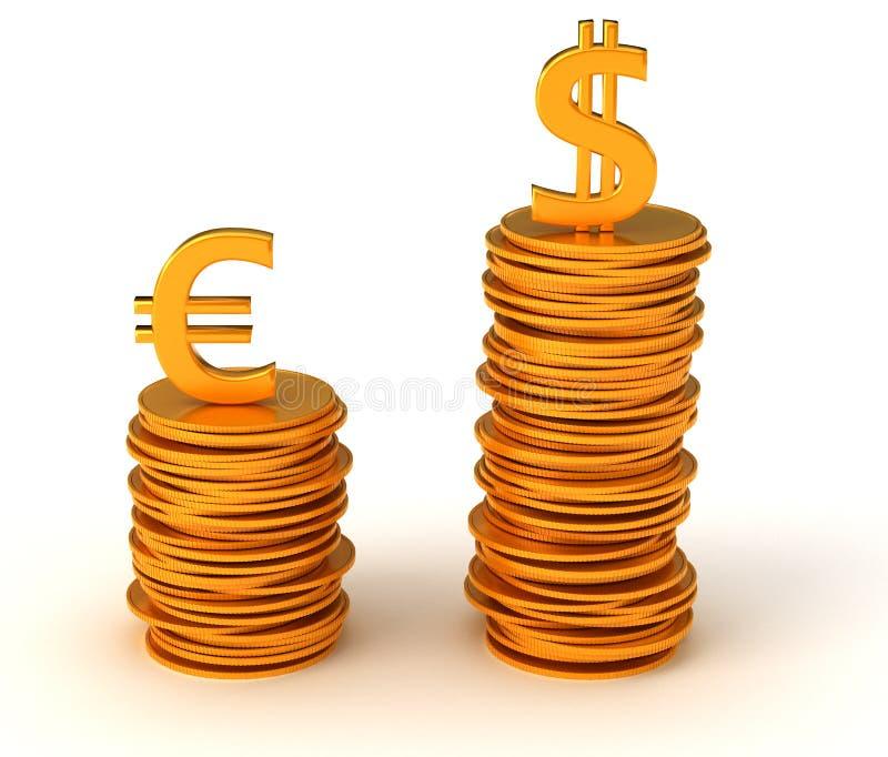 Dominación del dólar de los E.E.U.U. sobre euro ilustración del vector